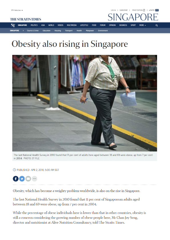 Obesity also rising in Singapore in The Straits Times-thumbnail